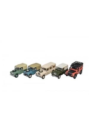 Land Rover Modellauto Set 5-teilig im Maßstab 1:76-1